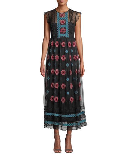 Cross-Stick Cap-Sleeve Embroidered Point d'Esprit Tulle Dress