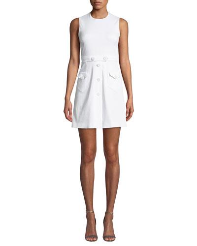 Crewneck Sleeveless Stretch Cotton Gabardine Mini Dress w/ Buttons
