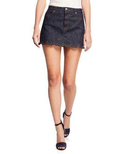 Scalloped Edge Denim Mini Skirt