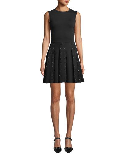 Sleeveless Crewneck Mini Dress w/ Stud Embellished Skirt
