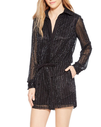 Kathleen Sequined Button-Front Romper