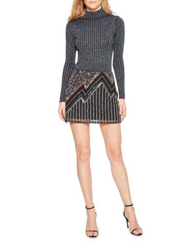 Corsica Beaded Metallic Mini Skirt