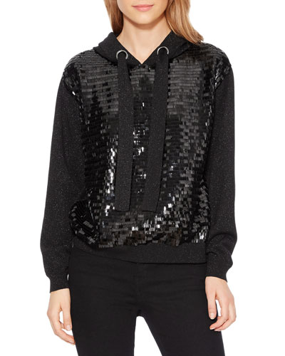 Nolan Sequin Metallic Hooded Pullover Sweater