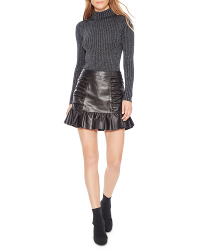 Alexandra Ruched Leather Flounce Skirt