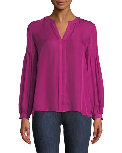 Hoffman Long-Sleeve Silk Blouse