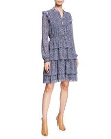 Michael Michael Kors Micro Floral Mix Print Long Sleeve Tiered Dress W/ Ruffle Trim by Michael Michael Kors