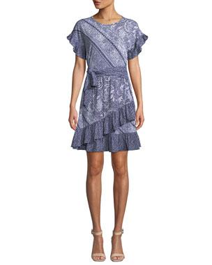 9f7568252c64 MICHAEL Michael Kors Paisley Mix-Print Short-Sleeve Tie-Waist Dress w
