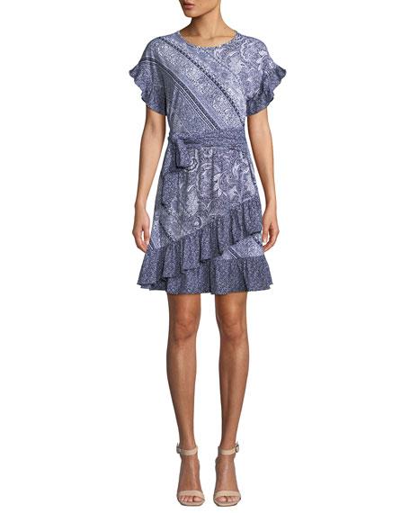 MICHAEL Michael Kors Paisley Mix-Print Short-Sleeve Tie-Waist