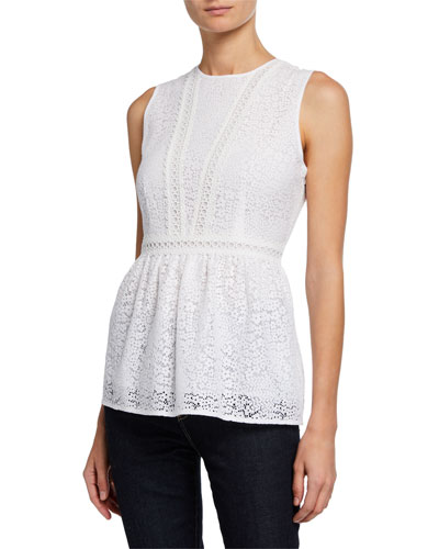Mini Mod Floral Lace Sleeveless Peplum Top