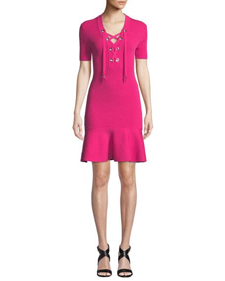 MICHAEL Michael Kors Lace-Up Rib-Knit Short-Sleeve Dress with