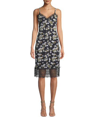 Floral-Print Sweetheart Slip Dress with Lace Trim