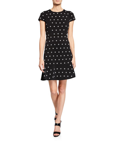MICHAEL Michael Kors Flower-Print Cap-Sleeve Dress with Stud Embellishments