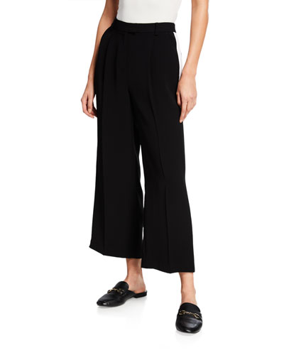 Tux Stripe Wide-Leg Cropped Pants