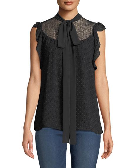 MICHAEL Michael Kors Cascade Tie-Neck Sleeveless Top with