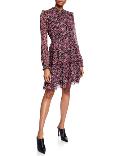 Floral-Print Long-Sleeve Ruffle Shirtdress