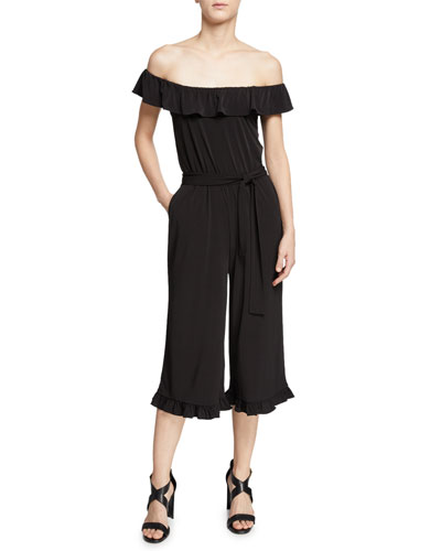 Off-the-Shoulder Ruffle-Trim Cropped Jumpsuit