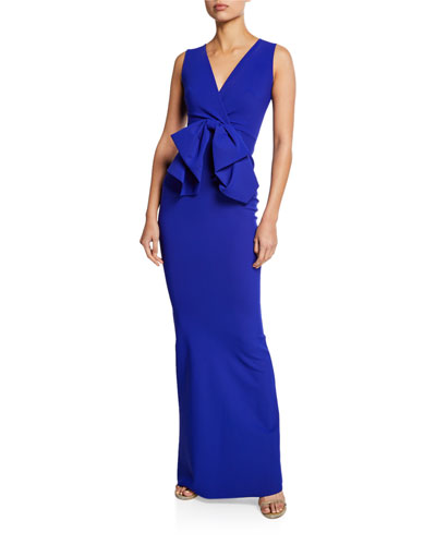 Oshun Sleeveless Column Dress with Big Bow