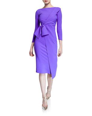 43d6d1133410d Chiara Boni La Petite Robe Gurli Bateau-Neck 3 4-Sleeve Asymmetric Flap