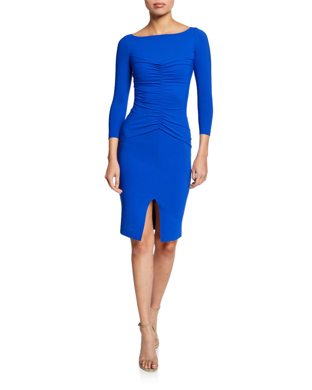 7b05142e647 Chiara Boni La Petite RobeSiviliana Bateau-Neck 3 4-Sleeve Ruched Dress