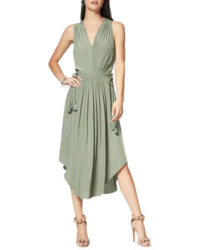 Hailey Shirred Sleeveless Midi Dress