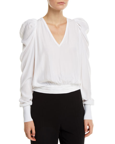 Alexis Cropped Puff-Sleeve V-Neck Top