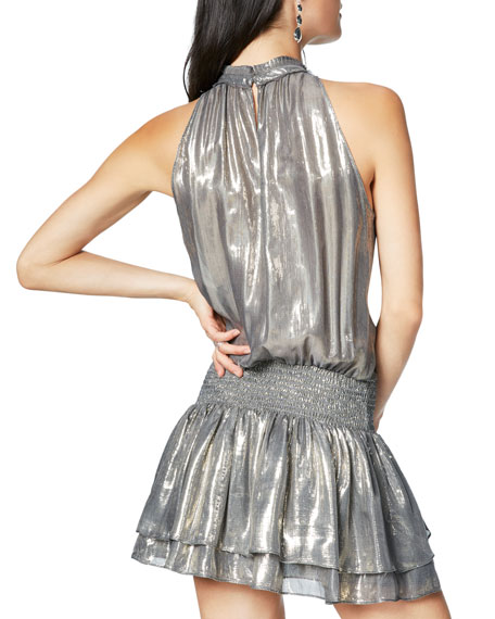 RAMY BROOK Silks ALLONA METALLIC HIGH-NECK RUFFLE SHORT DRESS