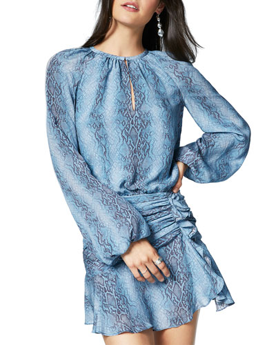 Jeannie Snake-Print Long-Sleeve Silk Dress