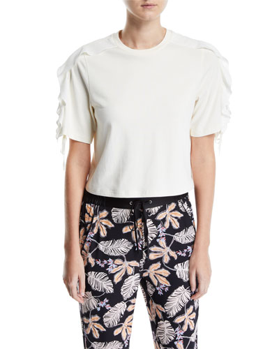 Cropped Ruffle-Sleeve T-Shirt