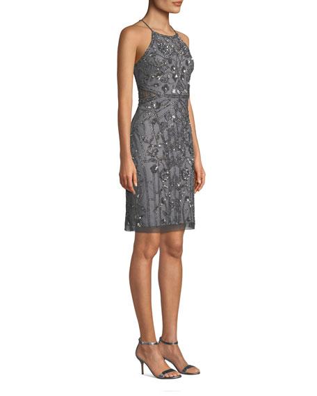 Bead Embellished Halter-Neck Cocktail Dress