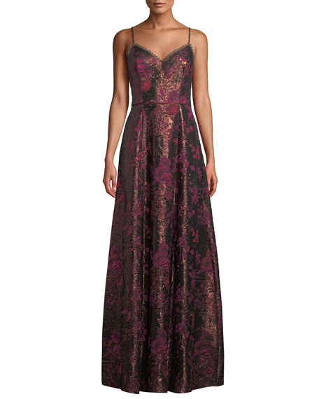 Aidan by Aidan Mattox Metallic Jacquard Sweetheart Gown