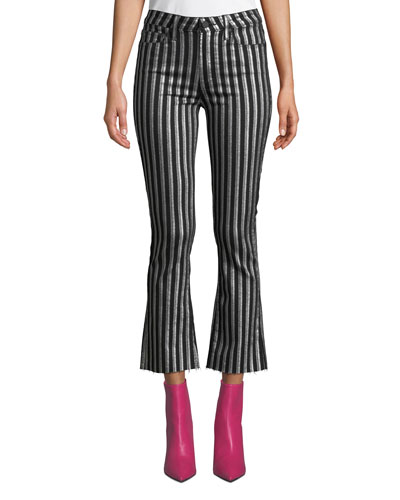 Colette Crop Flare Striped Jeans with Raw Hem