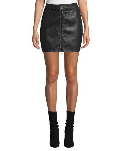 Jamine Zip-Front Denim Skirt with Sparkle Coating