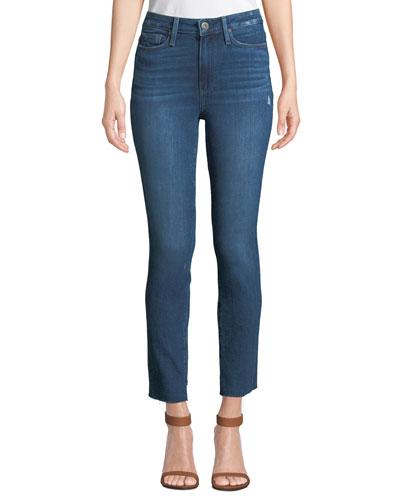 Margot Straight-Leg Ankle Jeans with Raw Hem