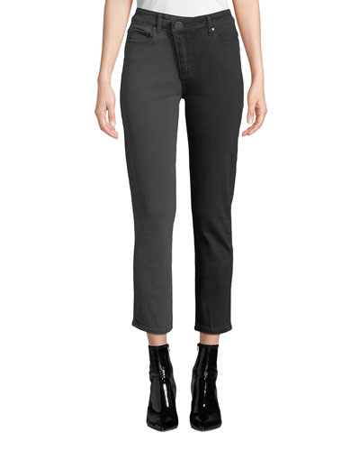 Hoxton Straight Ankle Half & Half Cropped Jeans