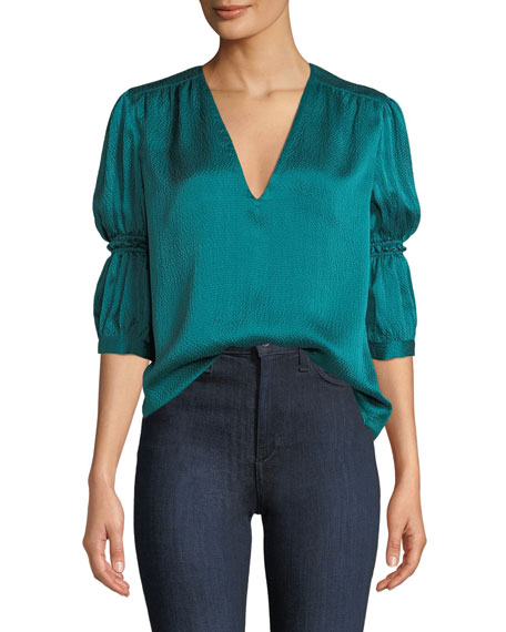 Rebecca Taylor Tops SILK V-NECK CINCHED-SLEEVE TOP