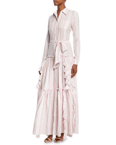 Pavilla Striped Tiered Ruffle Button-Front Maxi Dress