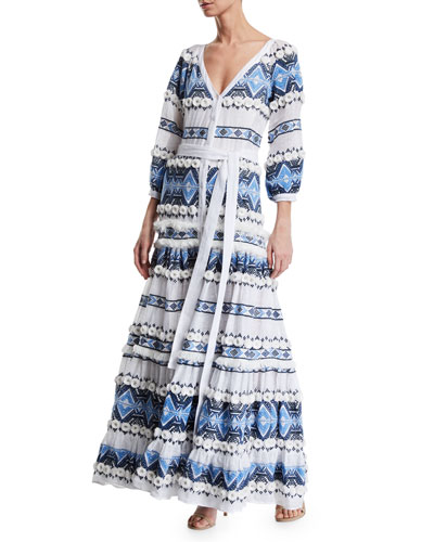 Wylla Embroidered Long-Sleeve Maxi Dress
