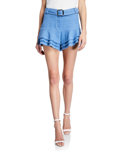 Jaymes Belted Linen Tiered Shorts