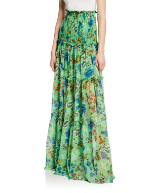 f251630fc5c Alexis Roshan Floral Smocked High-Rise Maxi Skirt