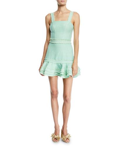 Judith Linen Sleeveless Ruffle Mini Dress