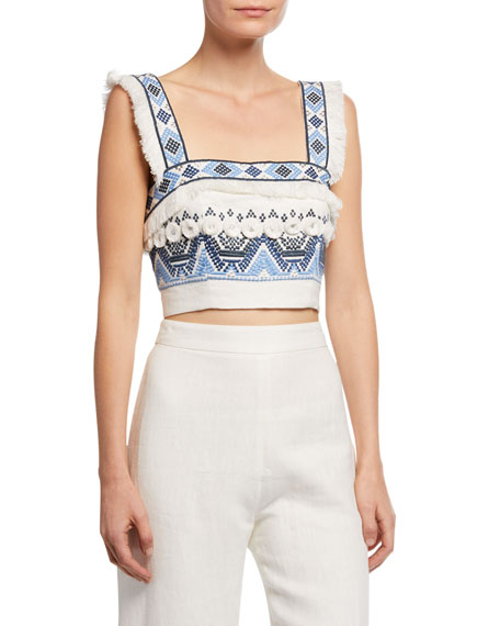 701e5085a32ee0 Alexis Liddy Embroidered Fringe Crop Top, White/Blue In Rich Embroidery Blue