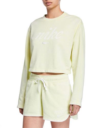 NSW Long-Sleeve Cropped Logo Sweatshirt  Green