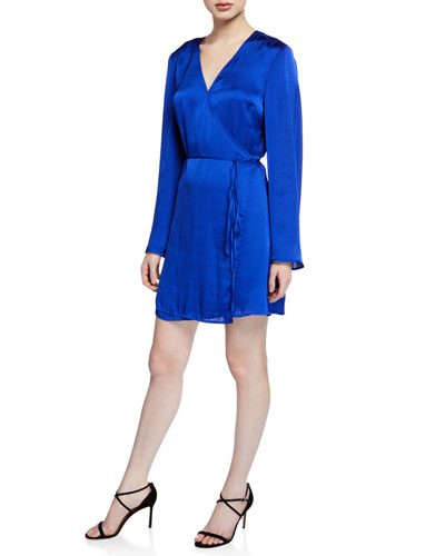 Kaidence Satin Long-Sleeve Wrap Dress
