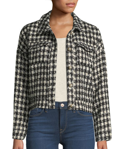 Andre Tweed Button-Front Cropped Jacket