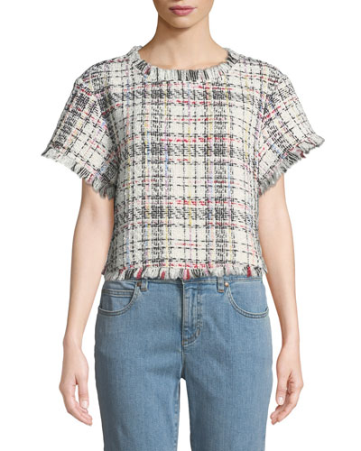 Emelda Cropped Tweed Short-Sleeve Top