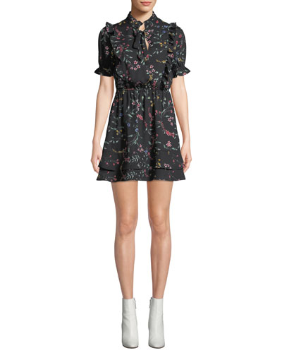 Karolina Floral Short Dress with Ruffle Trim