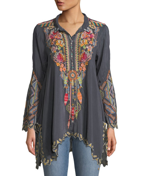 Johnny Was Petite Festival Long-Sleeve Embroidered Georgette