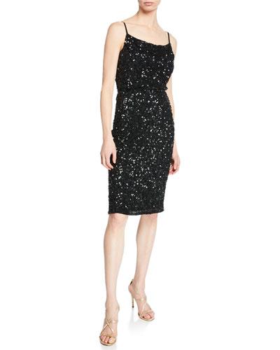 Leighton Sequin Cowl-Neck Sleeveless Cocktail Dress
