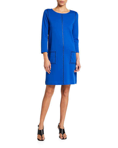 Joan Vass Studded 3/4-Sleeve Shift Dress