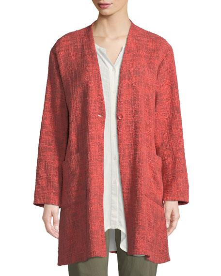 MASAI Jordana Melange Boucle Single-Button Jacket in Coral